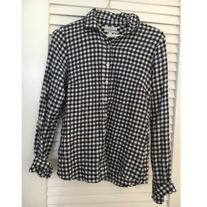 J crew gingham Navy Button Down